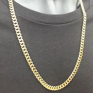 Men's Gold 7mm Cut Curb Chain
